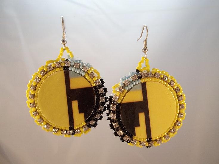 Yellow Beaded Earrings