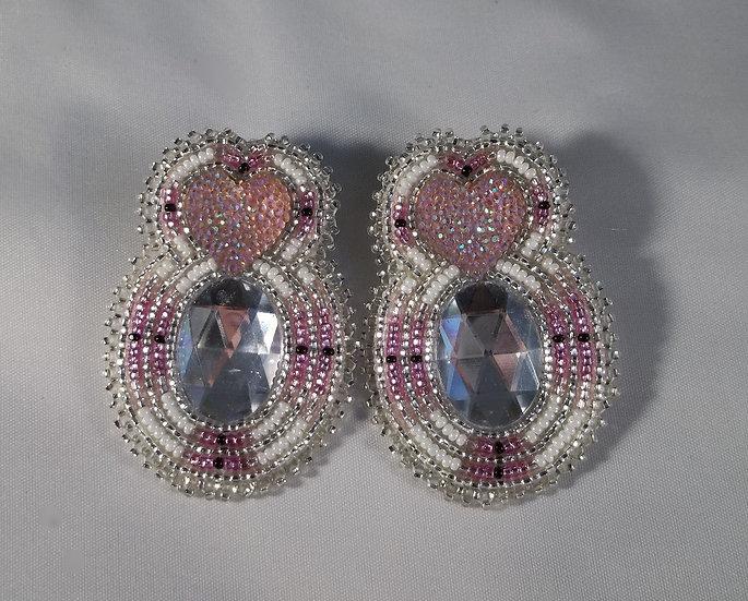 Pink Heart Post Earrings