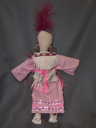 Doll-Pink Dress with Red Feather