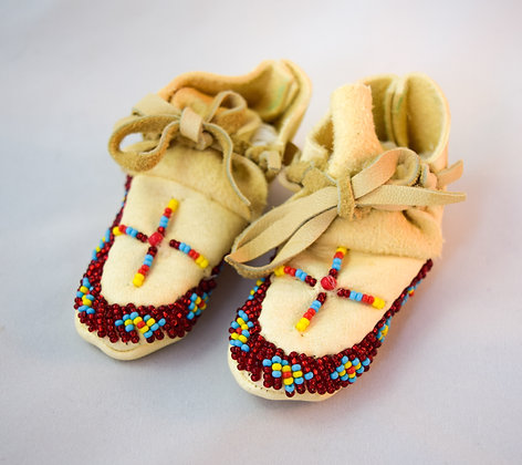 Red Beaded Baby Moccasins