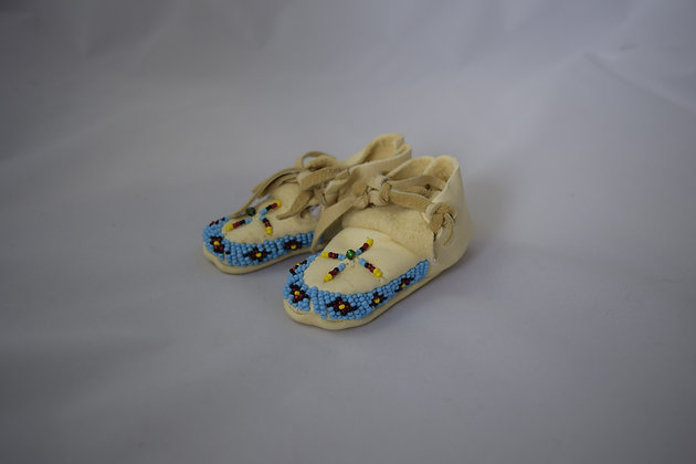 Blue Beaded Baby Moccasins