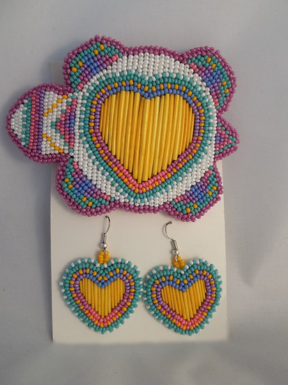 Beaded and Quilled Barrette/Earrings