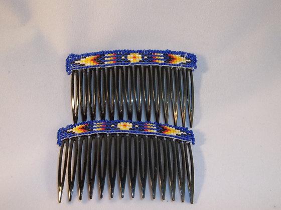 Beaded Hair Combs-Royal Blue
