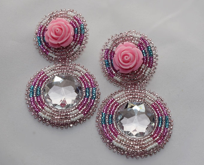 Pink Rose Bling Earrings