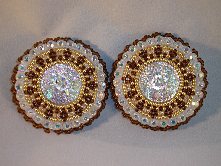 Brown and Gold Round Earrings