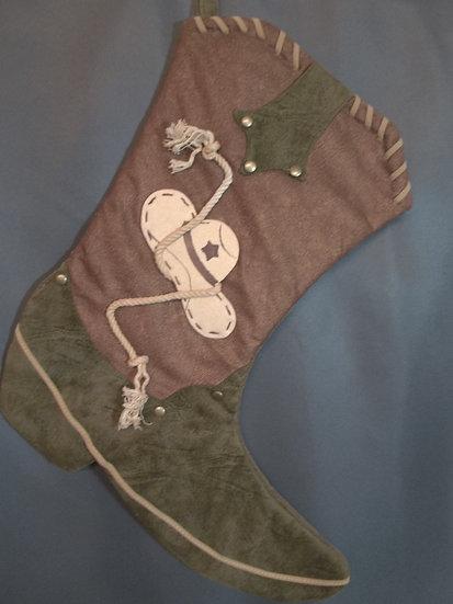 Cowboy Boot Stocking-Green