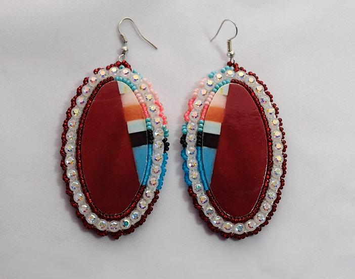 Red Oval Earrings