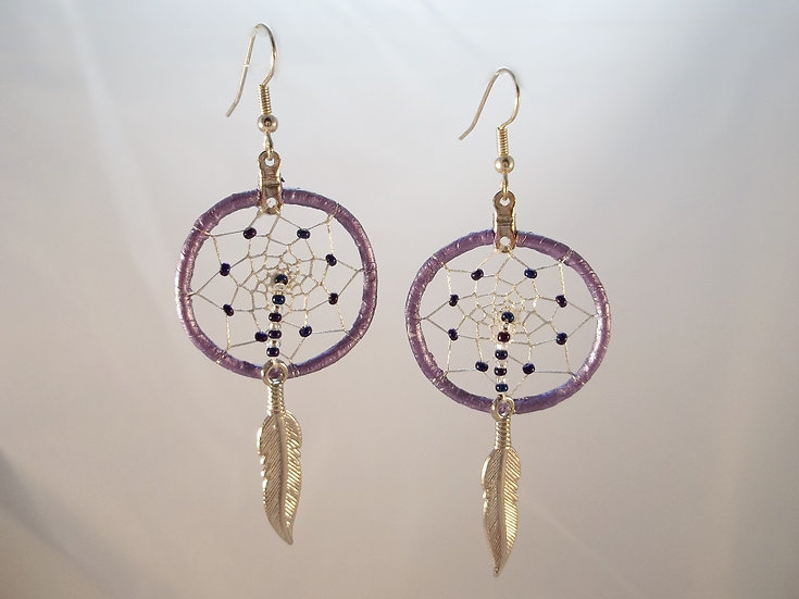 Purple Dream Catcher Earrings