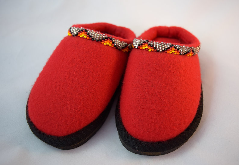Red Kids Beaded Sandals