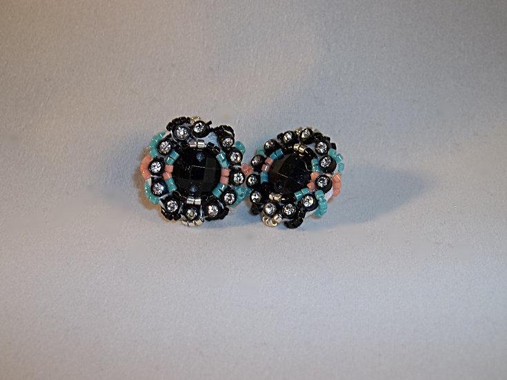 Small Post Earrings-Black