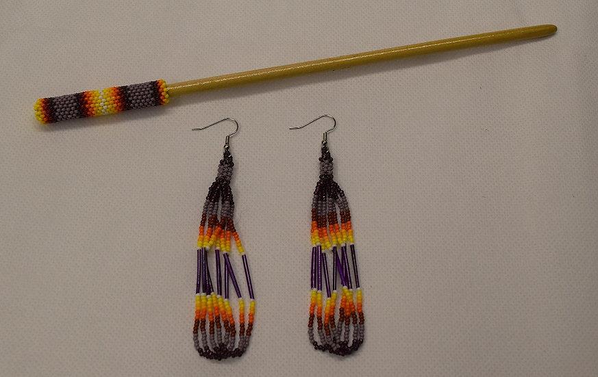 Beaded Earrings & Hair Stick-Purple