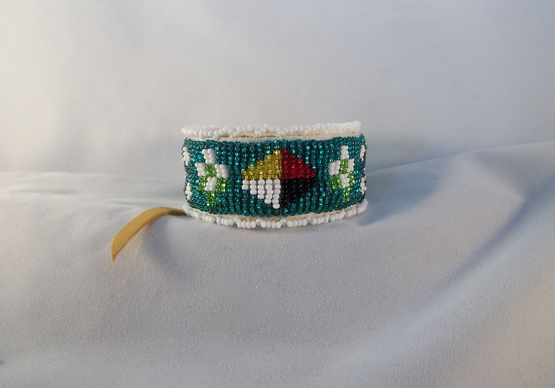 Beaded Leather Bracelet-Green