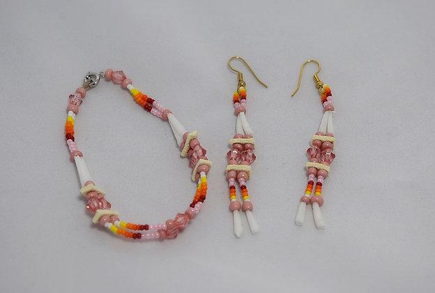 Pink Dentalium Earrings and Bracelet set