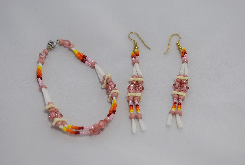 Pink Dentalium Earrings and Bracelet set