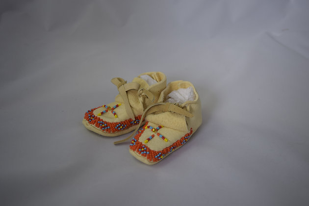 Orange Beaded Baby Moccasins
