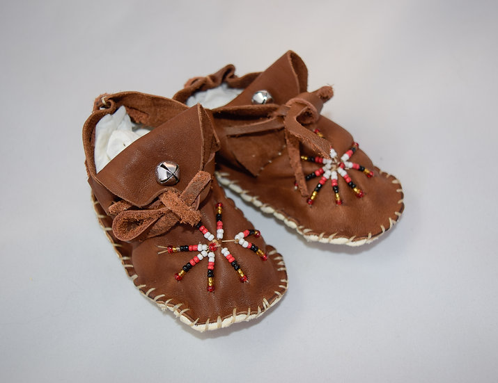 Brown Beaded Baby Moccasins