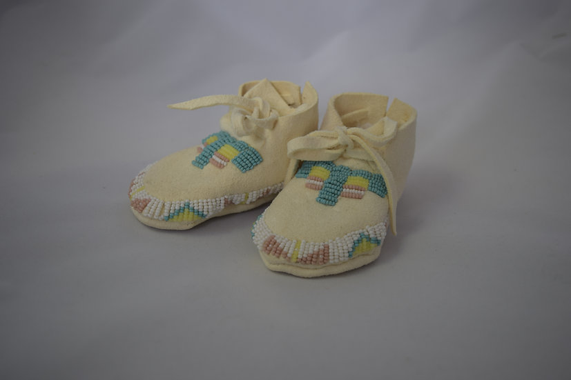 Turquoise & Pink Baby Moccasins