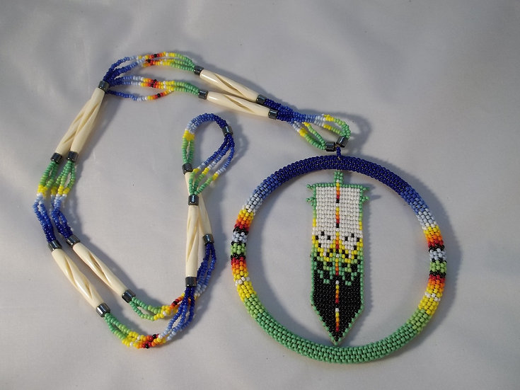 Large Beaded Feather  Necklace