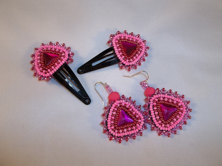 Beaded Barrette and Earring Set-Hot Pink