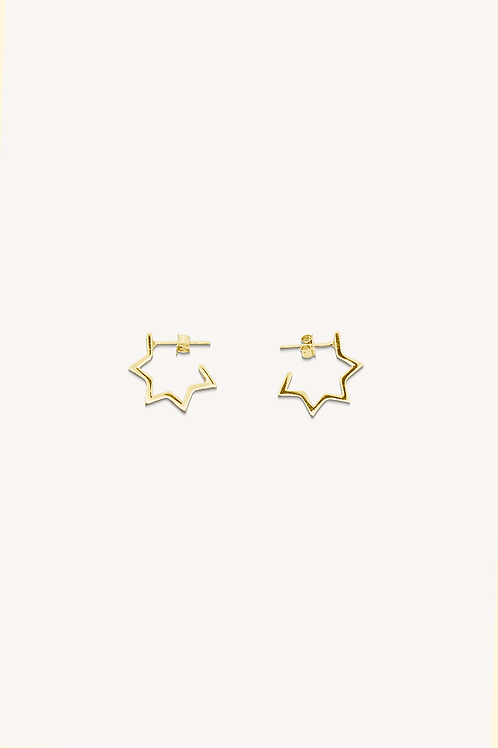 Hollow Star Hoops Gold Small