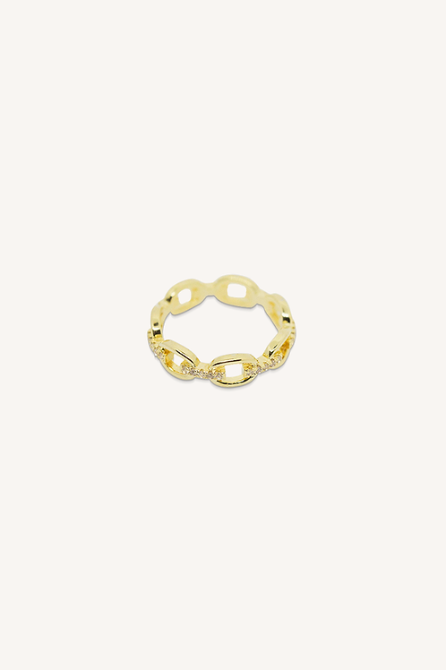 Diamond Link Chain Ring Gold