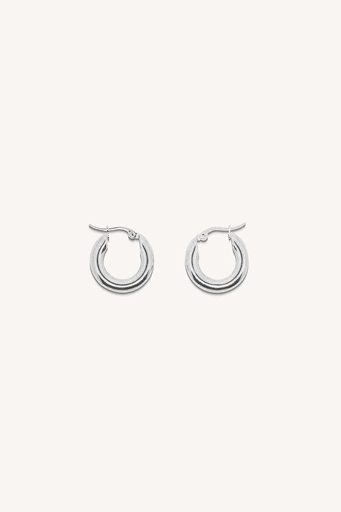 Classic Small Thick Hoop Earrings Silver