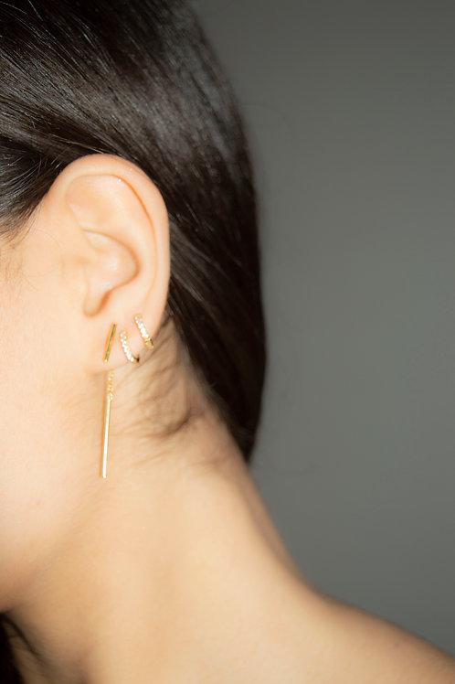 Bar Threader Earrings Gold