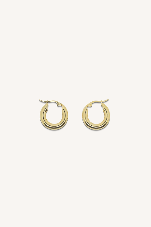Classic Small Thick Hoop Earrings Gold