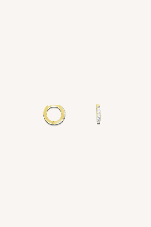 Cubic Zirconia Hoops Small Gold