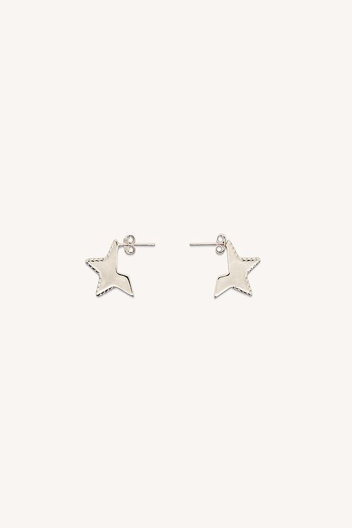 Cut Out Star Hoops Silver