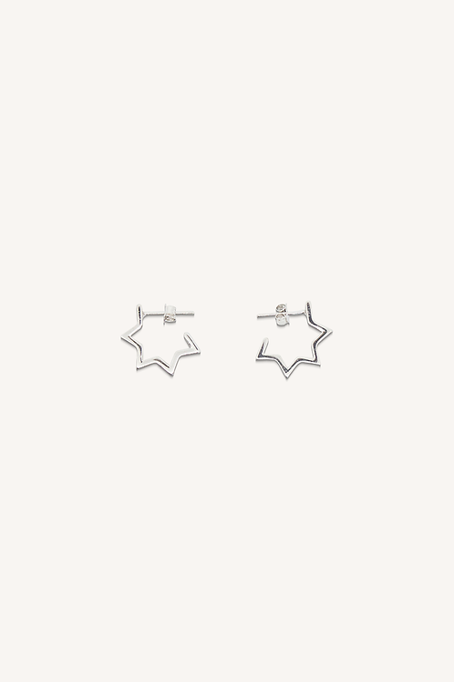 Hollow Star Hoops Small Silver