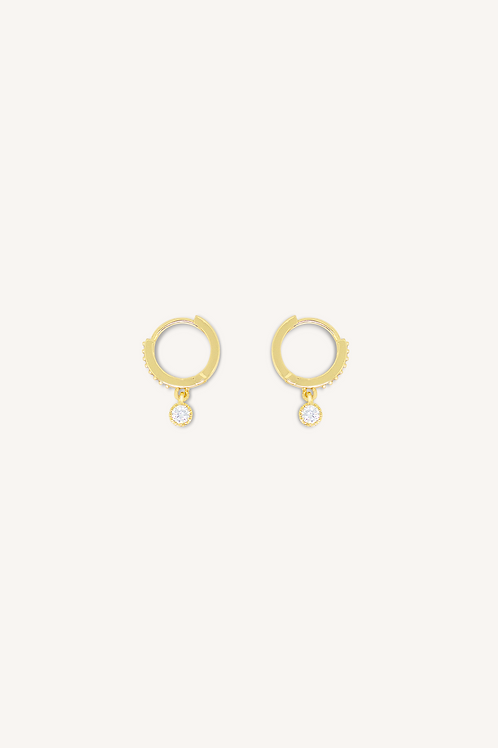 Cubic Zirconia Diamond Hoop Earrings Gold