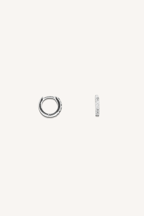 Cubic Zirconia Hoops Small Silver