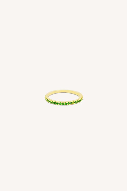 Emerald Cubic Zirconia Ring Gold