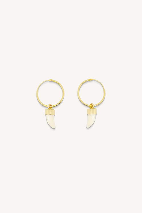 Horn Tooth (L) Hoops Gold