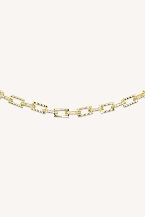 Diamond Chain Link Necklace Gold