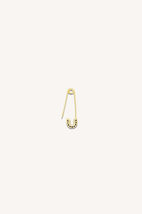 Small Safety Pin Black Diamond Earring Gold