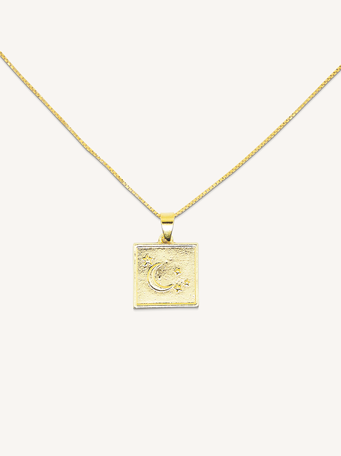 Moon Square Necklace Gold