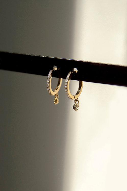 Cubic Zirconia Diamond Hoop Earrings Gold