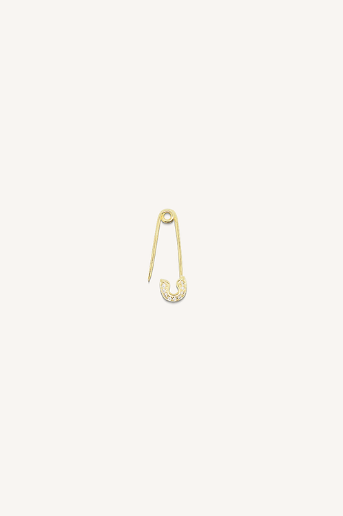 Small Safety Pin Diamond Earring Gold