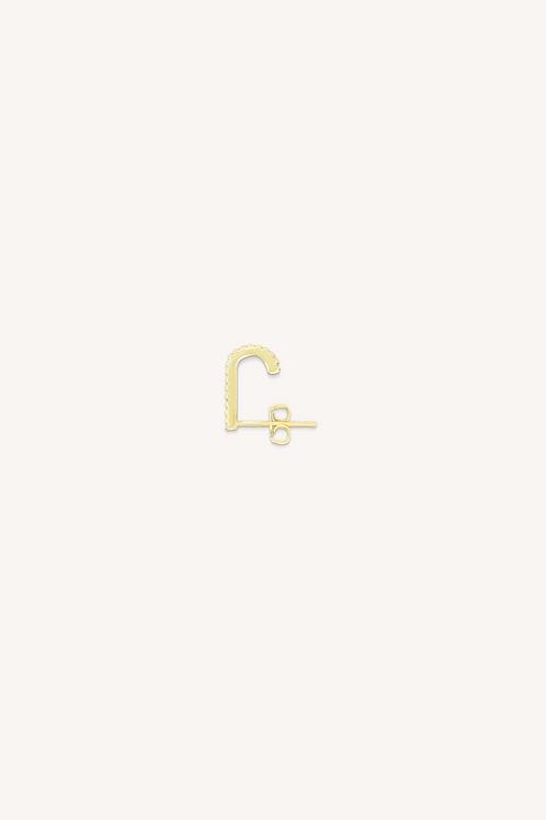 Diamond Suspender Hoop Earring Gold