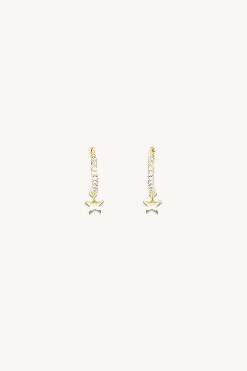 Star Cubic Zirconia Hoops Gold