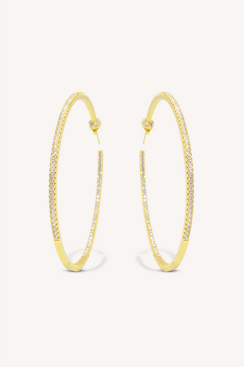 Ciara Diamond Hoop Earrings Gold