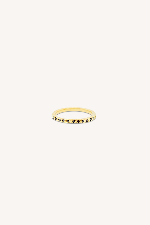 Onyx Cubic Zirconia Ring Gold
