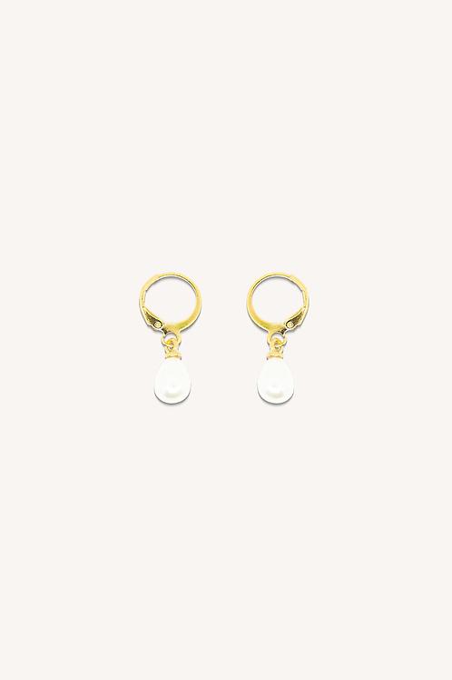 Pearl Hoop Earrings 10mm Gold