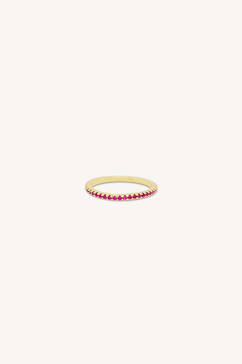 Garnet Cubic Zirconia Ring Gold