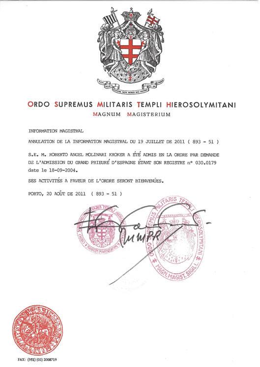 DOCUMENTO MAGISTRAL DE ANULACION DEL ANTERIOR FECHADO: 20 Agosto 2011