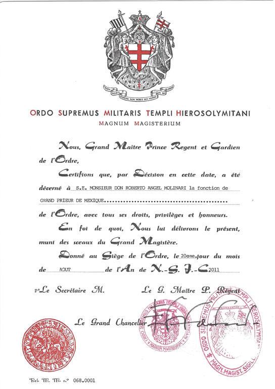 Carta Patente de Gran Priorato de México