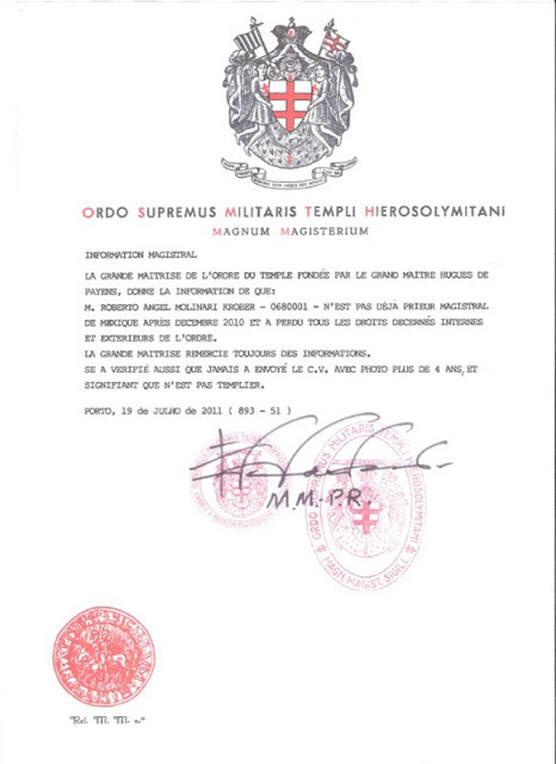 DOCUMENTO MAGISTRAL DE DESAFECTACION DEL PRIORATO MAGISTRAL DE MEXICO FECHADO: 19 julio 2011