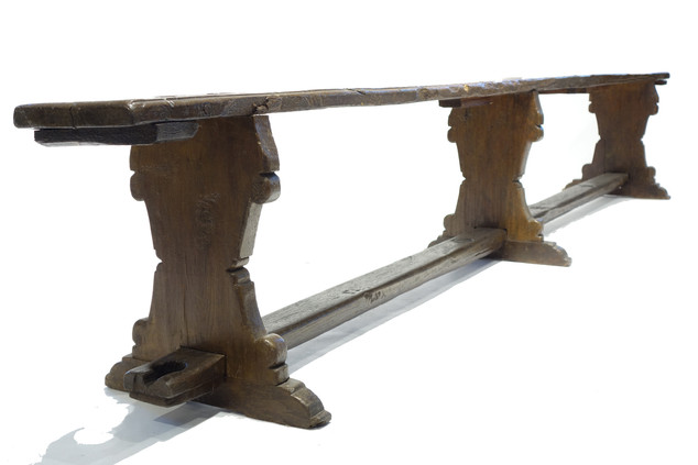 18th Century Italian Flag Hole Bench (pair - 1 pictured)